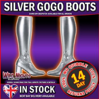 SILVER GO GO BOOTS - GO GO BOOTS SILVER SIZE 9
